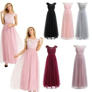 Women's Long Formal Dress Wedding Bridesmaid Lace Evening Party Gown Cocktail US
