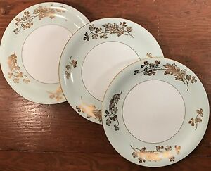 Image is loading Noritake-M-Japan-3-Dinner-Plates-5296-Pale- & Noritake M Japan 3 Dinner Plates #5296 Pale Green Gold White Asian ...