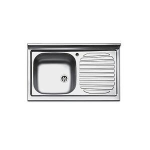 Lavello cucina appoggio acciaio inox per mobile sottolavello 80 cm ...