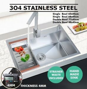 Handmade Stainless Steel Under/Top mount Kitchen Laundry Single Double Bowl Sink