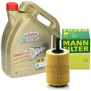 Inspektionskit-5-Liter-Castrol-Edge-5W-30-Ol-Mann-Olfilter-HU719-7X-fuer-AUDI-VW