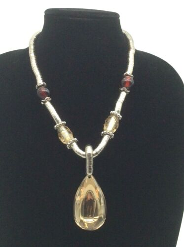 Silver Tone Snake Twist Beaded Statement Necklace