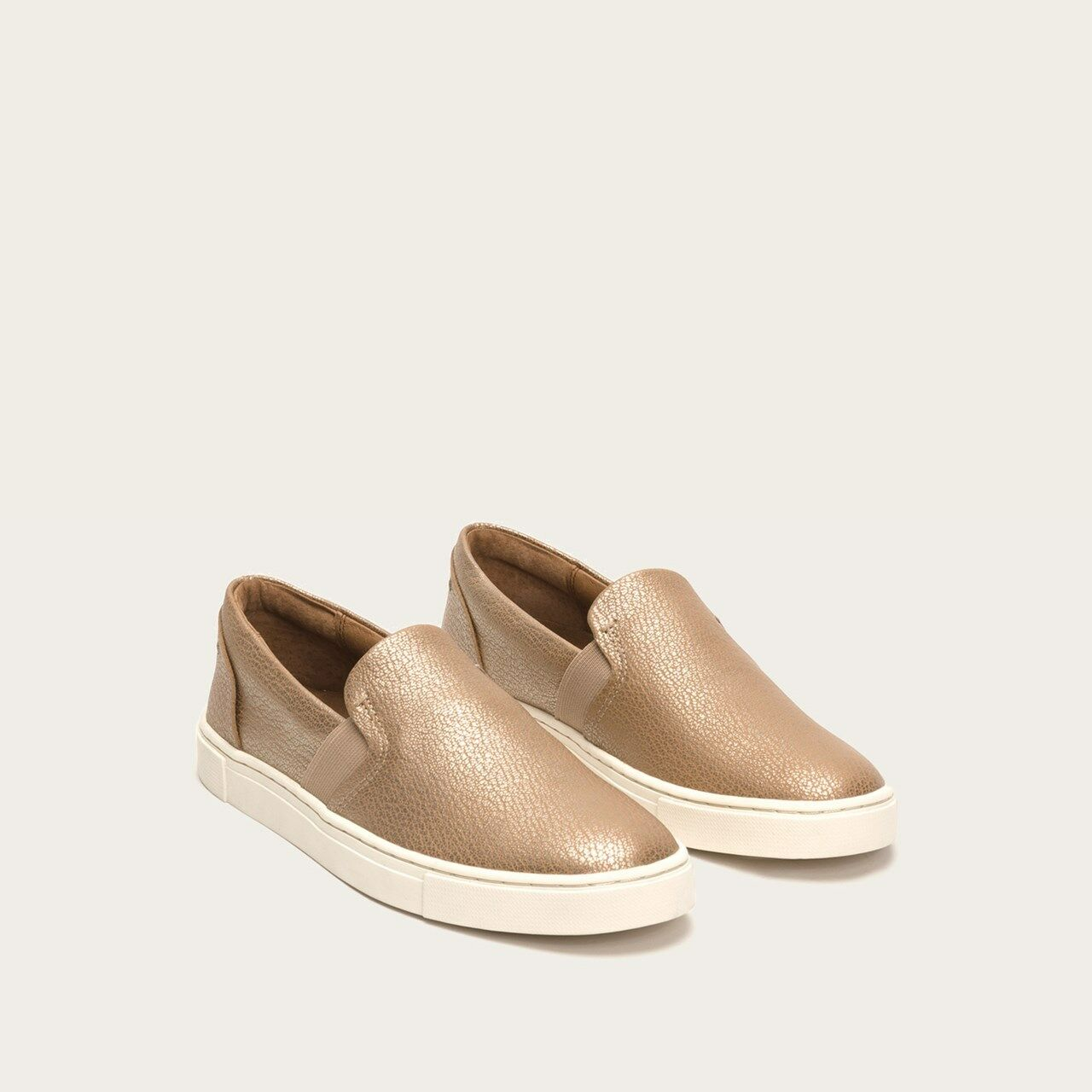 FRYE Ivy Slip gold Leather Sneakers shoes