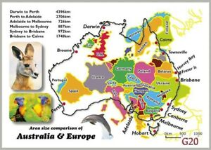 Australia Map In Europe.Details About 10 Map Postcards Of Australian Vs Europe Comparison 2 Designs