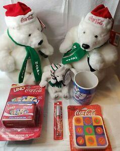 Vintage-Coca-Cola-collectibles-lot-7-Polar-Bears-Mug-Uno-Lipsmacker-Coaster