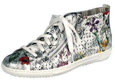 Rieker Wildebuk-Weaving Schuhe Damen Antistress Boots Stiefelette black Z8694-00