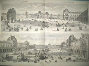 LOUVRE-VUE-DE-LA-PLACE-DU-CARROUSSEL-amp-PAVILLON-DE-L-039-HORLOGE-L-039-ILLUSTRATION-1857
