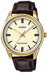 Casio-Mens-MTP-V005GL-9A-Gold-Analog-Watch-Brown-Leather-Band-New