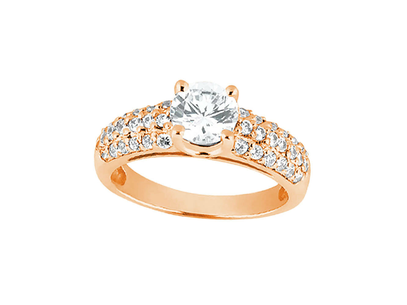 Natural 1.00ct Round Cut Diamond Pave Bridal Engagement Ring Solid 10k gold