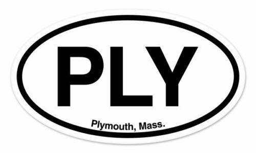 "PLY Plymouth Mass Oval car window bumper sticker decal 5/"" x 3/"""