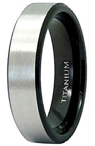 TITANIUM-Matte-BANK-RING-with-Black-Plated-Beveled-Edges-size-11-in-Gift-Box