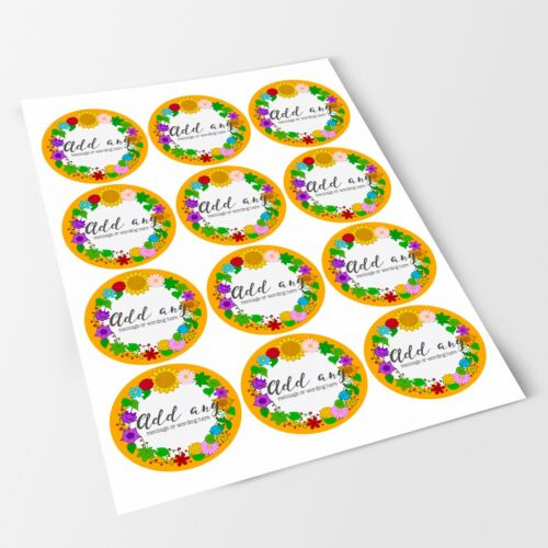 Gardening Sunflower Sticker Labels for Party Bag Sweet Cones