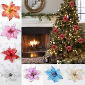 Image is loading 10Pcs-Glitter-Christmas-Flower-Xmas-Tree-Ornaments-Wedding- 2ee246a4b416