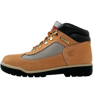 e9743531070c Image is loading Timberland-Field-Boot-Juniors-15945-Wheat-Leather-Mesh-