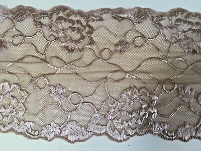 "Sewing//Lingerie *New* 7/""//18cm Stunning Burgundy Stretch Galloon Lace Trim"