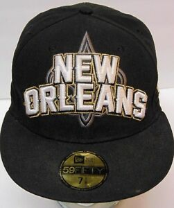 NEW ORLEANS SAINTS NFL Football NEW ERA 59FIFTY Fitted BLACK HAT CAP ... b56a4be72ae1