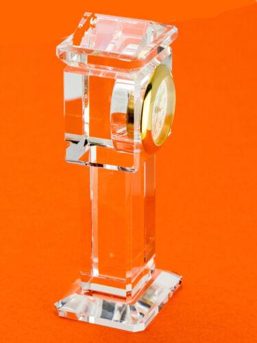 CRYSTAL GRAND FATHER STYLE COLLECTABLE ANALOG QUARTZ MINI CLOCK PLATINUM