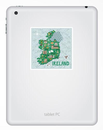 2 X 10cm mapa de Irlanda Irlandés Pegatina-Pegatinas de vinilo Laptop Equipaje Regalo #19327