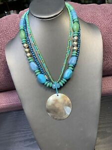 """Signed NY Mother Of Pearl Pendant Beaded Turquoise blue green necklace 18"""""""