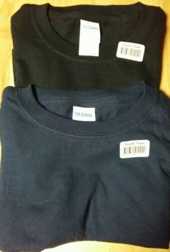 Gildan Youth Large T Shirts 2 Pack Black and Navy Blue 100 /% Cotton