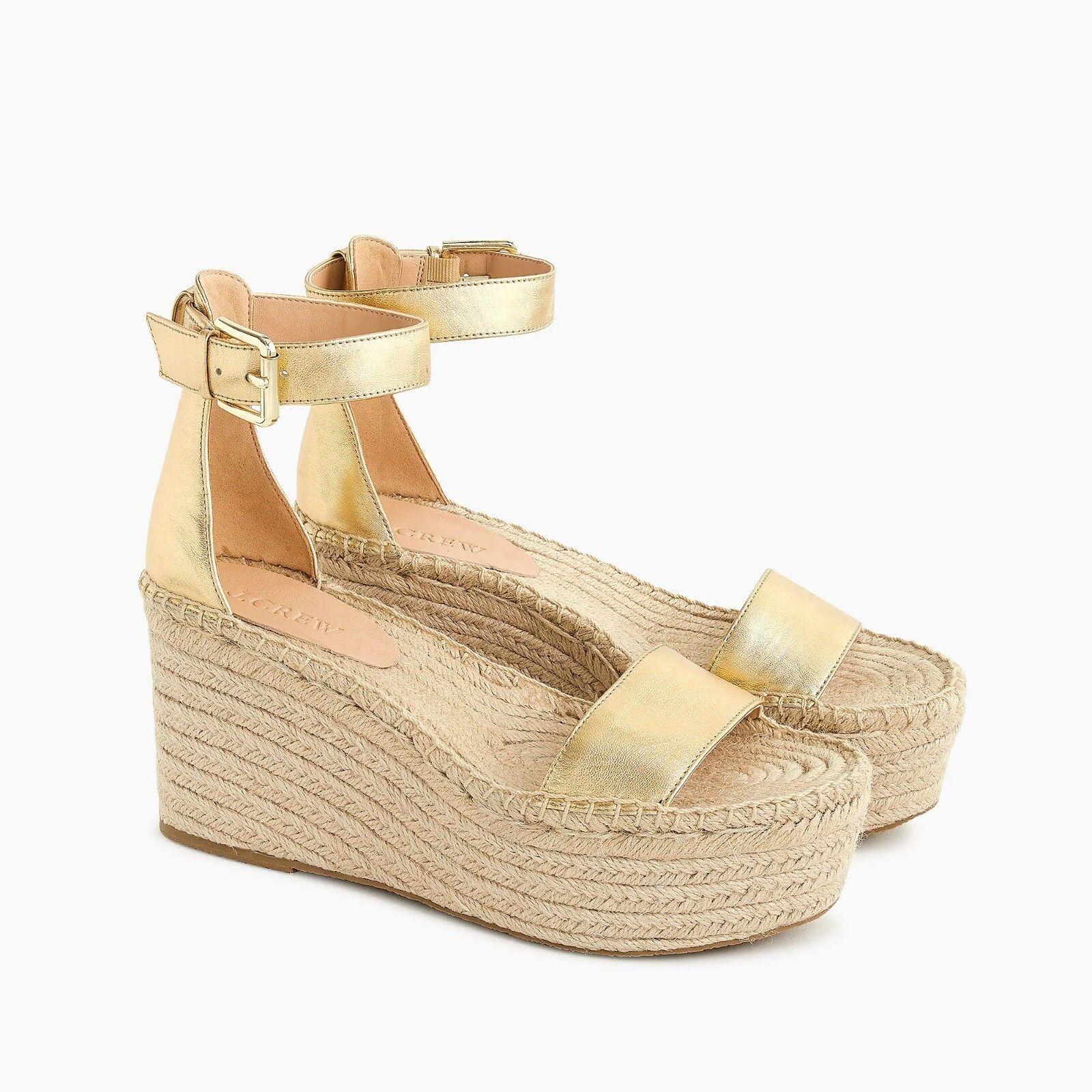 Nuevo con etiquetas J. Crew Para Mujeres Plataforma Zapato Sandalia De Cuero-oro metálico-Tamaño 8.8