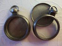 Mini 1 Inch Pocket Watch Fillable Silver & Glass Frame Lockets Pendants - Qty 2