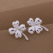 925 Silver Plated Four Leaf Clover Flower Stud Earrings Butterfly Back Gift