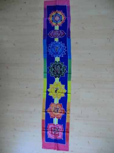 Wandbehang Bild Fahne Mandala Blume des Lebens Om Chakra Farben Rainbow Yoga