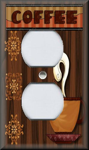 Metal Light Switch Plate Cover Cafe Kitchen Home Decor Cup Of Coffee Decor
