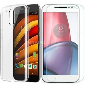 Clear-Ultra-Slim-Gel-Case-and-Glass-Screen-Protector-for-Motorola-Moto-G4-2016