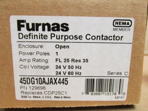 Furnas 45DG10AJAX445 Contacteur 2 poles 25//35 Amp 24 V Bobine Démarreur 277-600 V