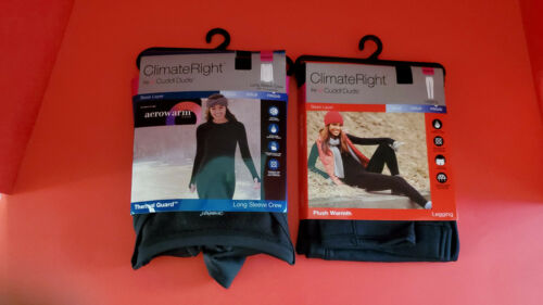 Climate Right by Cuddl Duds women/'s 2 pc crew neck and legging set size XS//XCH