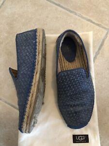 marque populaire nouveau sommet Site officiel Détails sur Chaussures plates UGG Mocassins Cuir Tressé Bleu femme T. 39