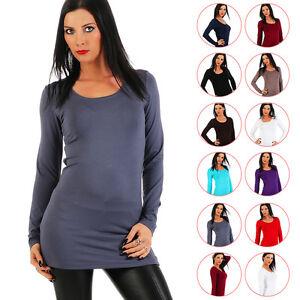 BALI-Lingerie-Damen-Longshirt-Langarm-Shirt-Tunika-XS-S-M-L-XL-XXL