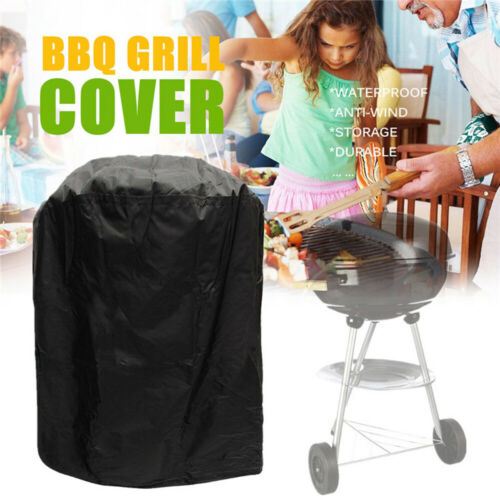 Waterproof Black Round Kettle BBQ Grill Barbecue Cover Garden Patio UV Resistant