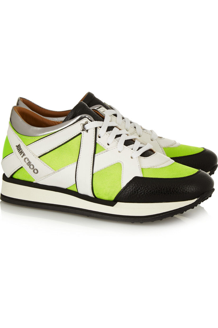 Jimmy Choo Yellow Lime London Neon Mesh And Leather Sneakers Flat shoes 37.5- 6.5