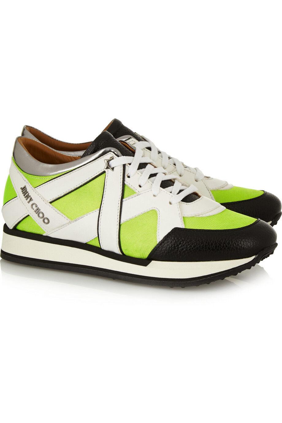 Jimmy Choo Yellow Lime London Neon Mesh And Leather Scarpe da Ginnastica Flat Shoe 36.5- 6