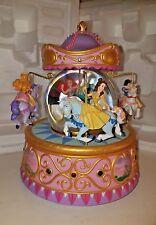 Disney Snowglobe Multi Princess Rotating Carousel Belle Ariel Aurora White Cind