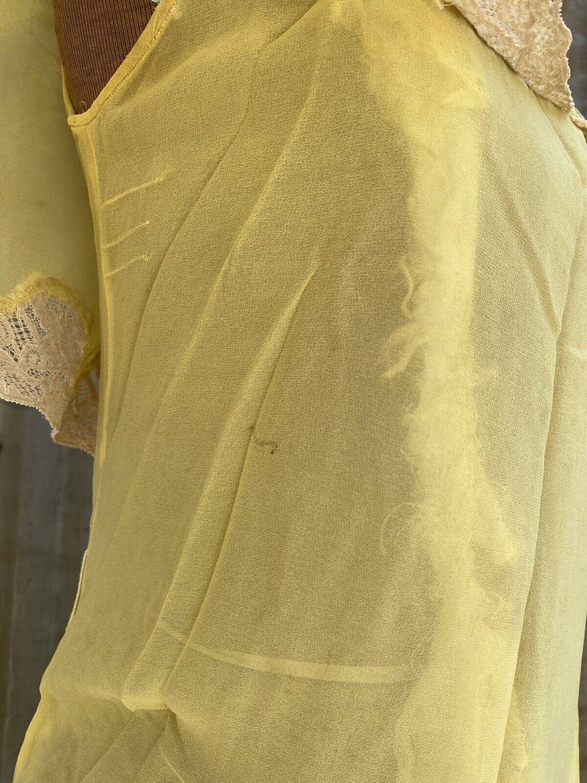 Antique 1920s 1930s Yellow Silk Chiffon Midi Dres… - image 7