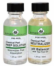 Chemical Peel Kit Prep Solution & Neutralizer - Salicylic, Lactic, Glycolic, TCA