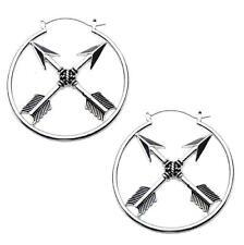 Arrow hoop earrings body piercing jewelry plug tunnel 20g silver  goth bow w122
