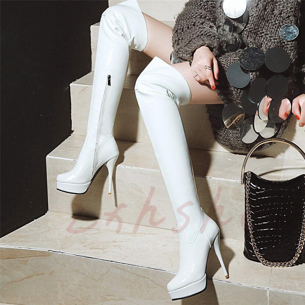 11CM Lackleder Damen Overkneestiefel Stilettos Glanz Platform High Heels Stiefel