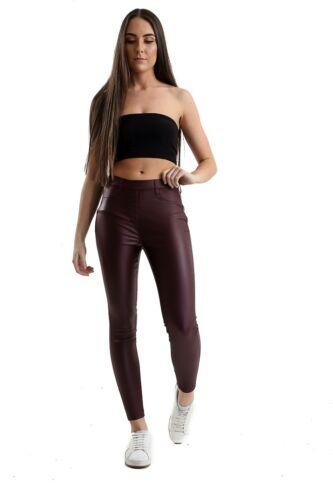 Ladies EX FAMOUS STORE Vita Alta Similpelle Super Skinny Jeggings Da Donna