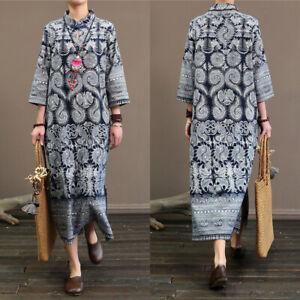 ZANZEA-8-24-Women-3-4-Sleeve-Side-Slit-Printed-Floral-Dress-Midi-Cheongsam-Qipao