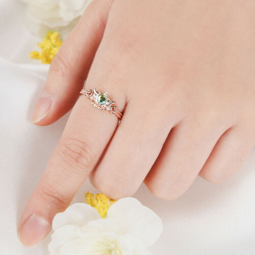 Wedding Peach Angel Daisy Silver Ring Green Cubic Zirconia Clue Official Anime