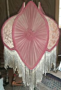 Vintage-Victorian-French-Floral-Lamp-Shade-Maroon-w-Bead-Fringe-Chiffon-Felt