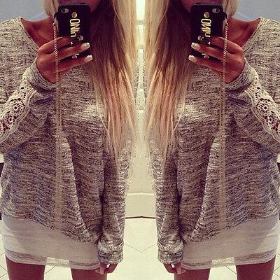 Femmes Dentelle Pull Chemsie Tee Shirt Crochet manches longue Cardigans Blouses