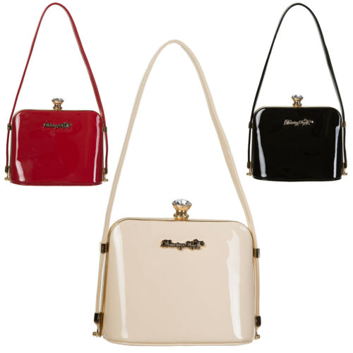 Womens Ladies New Vintage Retro Glamour 1950s 1960s Pinup Patent Formal Handbag