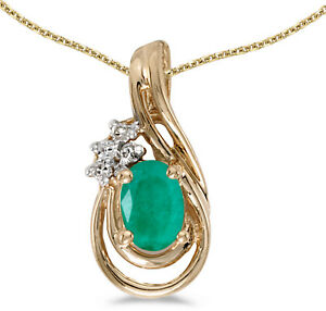 14k-Yellow-Gold-Oval-Emerald-And-Diamond-Teardrop-Pendant-Chain-NOT-included
