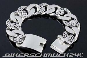 Biker-Armband-Snake-in-Mammut-Groesse-XL-extra-schwer-Edelstahl-ca-2-3-cm-breit